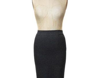 vintage MOSCHINO pinstripe skirt / pencil skirt / straight wiggle skirt / gray white / wool blend / women's vintage skirt / size 4