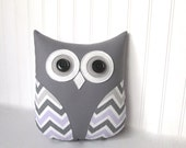purple chevron owl, decorative pillow, lavender and gray chevron, girl nursery decor by whimsysweetwhimsy