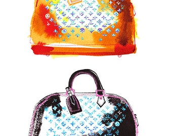 Illustration de Mode sacs Louis Vuitton, Decoration Maison, Louis Vuitton, Impression, Mode, Art, Art murale, Noir, Encre, Accessoire