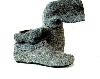 Felt wool slipper boots Gray with dark gray top - felted wool shoes with rubber soles