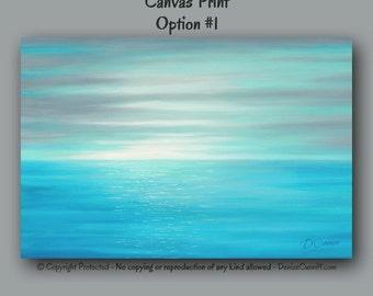 Large wall art, Teal home decor, Coastal beach decor, Abstract, Ocean art, Seascape artwork, Seashore canvas print, Gray, Blue, Office decor