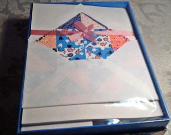 Vintage Gift Stationery Set Patchwork Quilt Writing Paper and Envelopes