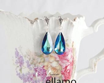 Stud earrings, filigree with marcasite and large teardrop Swarovski crystals, ocean blue, Bermuda blue, royal blue sparkly color
