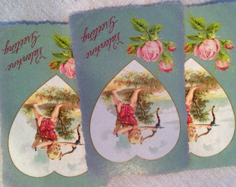 """Valentine Card Gift Tag Cupid Love Heart Arrow Silver Pink Roses """"Valentine Greeting"""""""