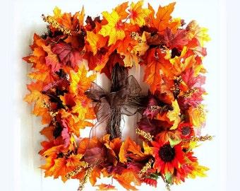 CLEARANCE - Vibrant Autumn Wreath - Fall Wreath - Grapewine Wreath - Orange, Yellow and Brown Wreath - Rustic Wreath