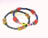 bangles bracelets stacking jewelry embroided textile bracelet