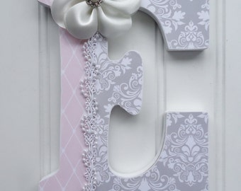 Shabby Chic Wall Letters, Custom Nursery Letters, Personalized Wooden Letters, Gray and Pink, Hanging letters