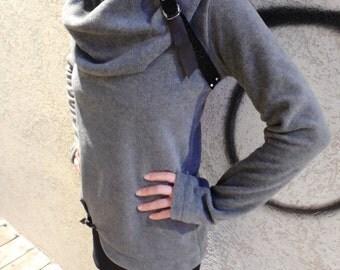 Winter Top,Sweater, Fleece Top,  Long Sleeve Top, Grey Top