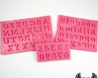 SILICONE MOLDS Full Alphabet Upper & Lower Case Letters and Numbers, Food Grade, Works with Fondant, Resin, Polymer Clay, Chocolate, etc