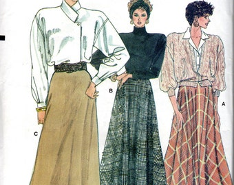 Easy 1980s Women's Long, A-Line, Slightly Flared Skirt Pattern- Size 8, 10, 12 - Very Easy, Very Vogue 9789 uncut