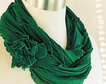 Green Ruffled Scarf -  Green Infinity Scarf - Emerald Green Scarf .