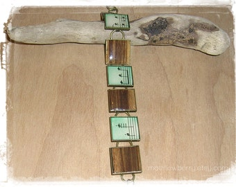 Vintage Sheet Music Bracelet - Zebrawood Bracelet - Sheet Music Jewelry