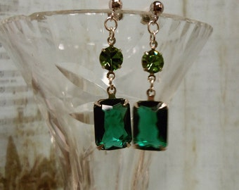 Vintage Style Emerald and Periot Green Rhinestone Dangle/Drop Earrings with Silver Settings and Post Jewelry, Wedding, Birthstone