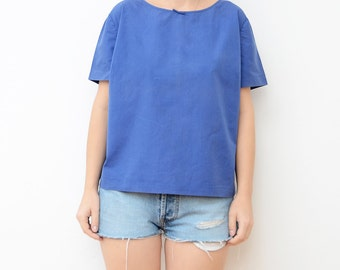 Vintage blue women boxy top with bow / tshirt blouse cotton small medium