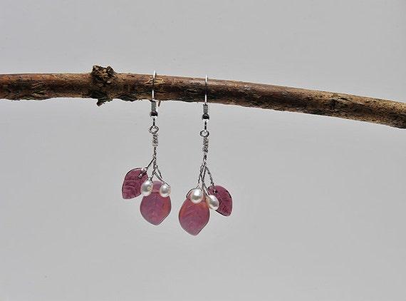 Burgundy Dangle Earrings, Leaf Earrings, Nature Inspired Jewelry, Winter Fashion