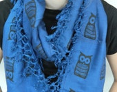 Electric blue upcycled infinity scarf, black owl print,  hand sceen printed cotton scarf, Christmas Gift