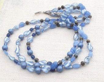 Blue Necklace  Blue Jewelry Cornflower Blue Necklace  Gemstone Jewelry  Blue Gemstone Jewelry Multi-Strand Necklace Baby Blue Jewelry