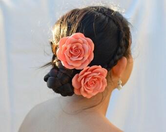 Coral Roses Hair Clip, Coral Bridal Hair Clip, Coral Bridesmaid Hair Clip.