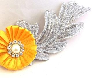 Flower Fascinator Hair Clip - Silver Yellow Hair Accessory - Handmade Hair Clip