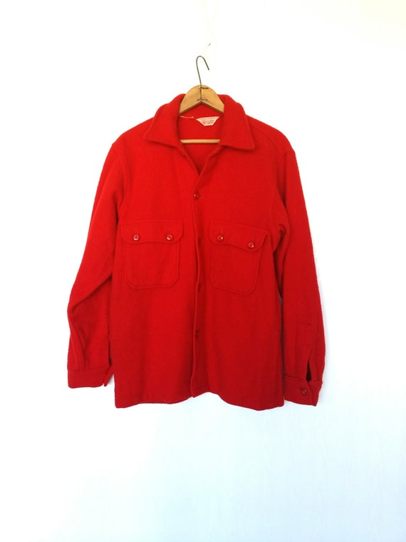 Red wool shirt jacket men 39 s heavy wool jacket over shirt for Mens red wool shirt