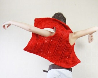 Red wool sequin embroidery chunky knit high collar vest S