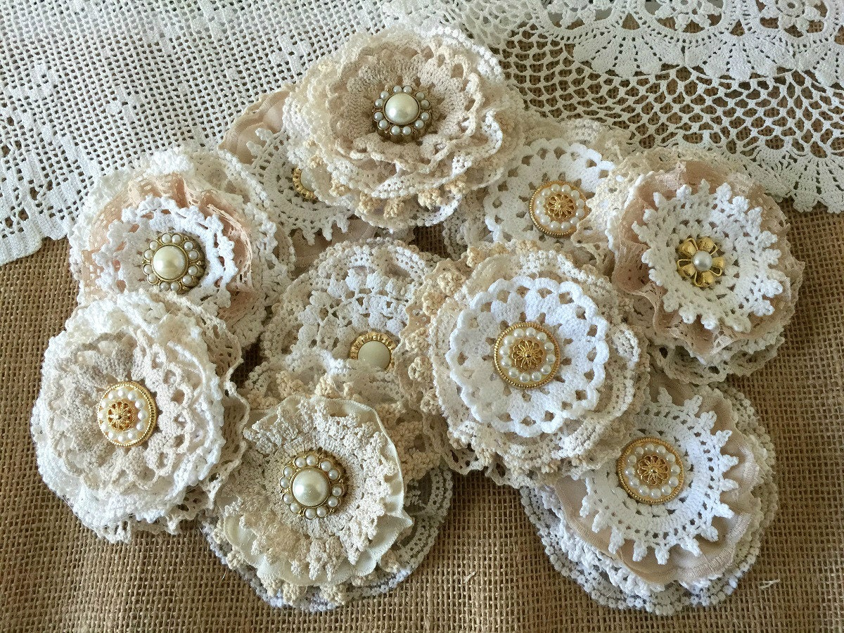 10 shabby chic lace handmade flowers by pinkyjubb on etsy. Black Bedroom Furniture Sets. Home Design Ideas