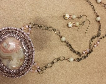 Crazy Lace Agate bead embroidered necklace and earrings set