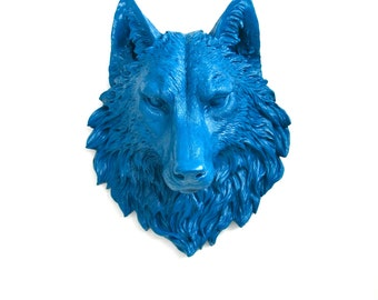 LITE PEACOCK BLUE Large Faux Taxidermy Wolf Head in light peacock blue:  Willem the Wolf