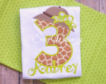 Safari giraffe shirt- safari birthday- girl's birthday shirt- Giraffe Birthday Shirt- Birthday Girl Shirt- Giraffe Birthday- Monogram- Girl