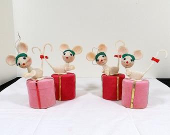 Set of Four 4 Vintage Flocked Mice Ornaments