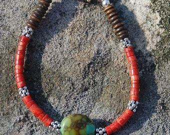 Turquoise and Coral Bracelet with silver and bone.  gifts for women, OOAK, rust, turquoise & brown colors,  Small bracelet