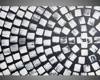 """Painting Art Paintings Black and White Squares Abstract Modern Acrylic Painting Art Deco Textured Modern Ready to Hang 36"""" x 18"""" by ilonka"""