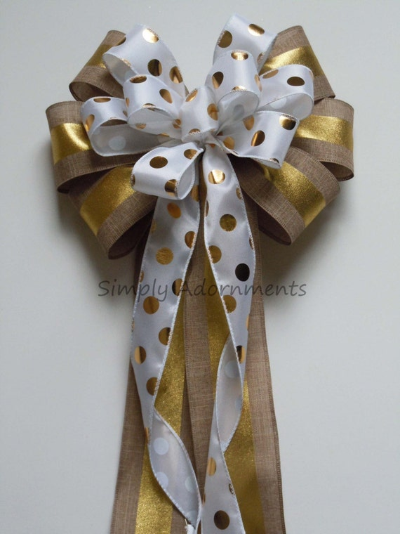 Gold Tan Wedding decor Polks Dots Burlap wreath Bow Gold Tan Party decor Polka dots Metallic Gold Bow Gold Tan Wedding Pew Bow Gifts Bow