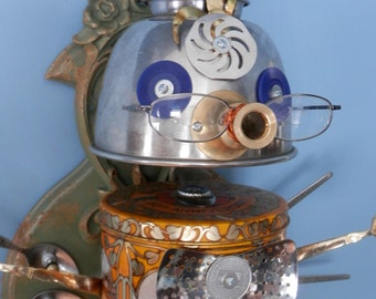 "Found Object ROBOT Sculpture ""Welcome Home""  Original Art - Assemblage - Mixed Media"