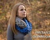 CROCHET PATTERN Chevron Infinity Scarf Pattern, Colorblock Zig-Zag Stitch Cowl Pattern, Instant Download
