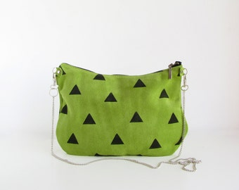Lime Green Geometry Crossbody Purse Slouchy bag Cross body  Leather purse Triangles