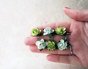 Rose Hair Pins, Olive and Mint, Green Bridesmaids, Paper Rose Bobby Pins, Flower Hair Accessories, Chartreuse Green, Rustic Wedding Hair