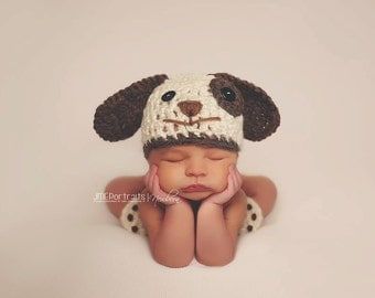 Baby Boy Hat PUPPY LUV Newborn Baby Boy Crochet Doggy Hat Cream Brown  Dog Hat Photography Prop Diaper Cover