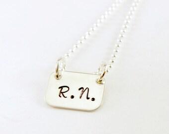 RN Jewelry - Nurse Necklace Hand Stamped Jewelry Sterling Silver - Hand Stamped Sterling Silver