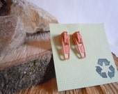 Peach Post-Style Zipper Earrings, eco friendly, upcycled