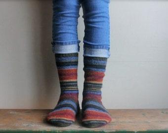 Women's Felted Wool Slippers/ Cabin Socks, Wool Slippers, Women Size 10