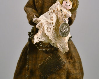 """11"""" Saint Anthony of Padua Hand carved Santos Cage doll."""