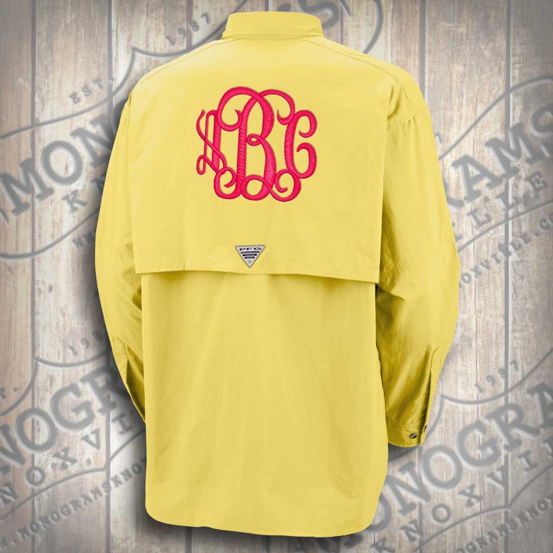 Monogram columbia yellow fishing shirt pfg font shown for Monogram fishing shirt