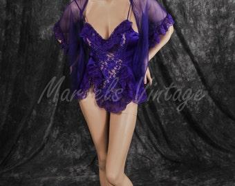 Vintage Royal Purple Alana Gale Babydoll Nightgown and Chiffon Robe Set Size Small