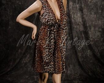 Vintage Vanity Fair Nightgown Leopard Print Lingerie Shift Short Gown Deep V Bust Size SML