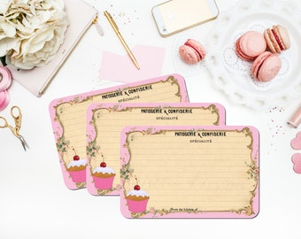 Pink French Recipe Cards, Parisian Patisserie, Cupcake, Vintage Paris, Hostess Gift, Bridal Shower Recipe Cards, Gift for Her, Set of 12