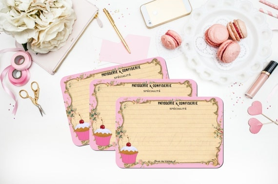 Paris Recipe Cards Pink French Recipe Cards