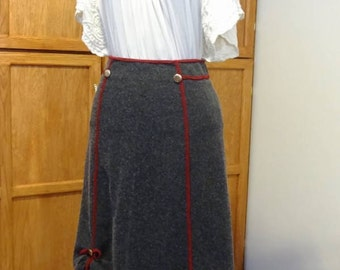 One-of-a-Kind Upcycled Grey Wool Skirt
