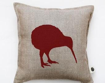 Bird pillow cover - decorative pillow - kiwi pillow - marsala print cushion - bird throw pillow - linen pillow case  0137