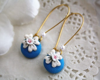 cute flower button drop earrings dangle round blue gold woodland mini flower cottage chic jewellery accessory wedding